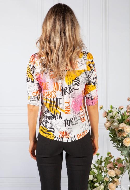 Sophie B white graffiti print shirt