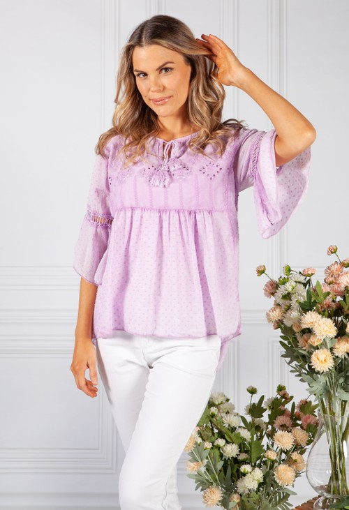 Pamela Scott Faded Lilac Linen Look Blouse with Embroidered Detailing
