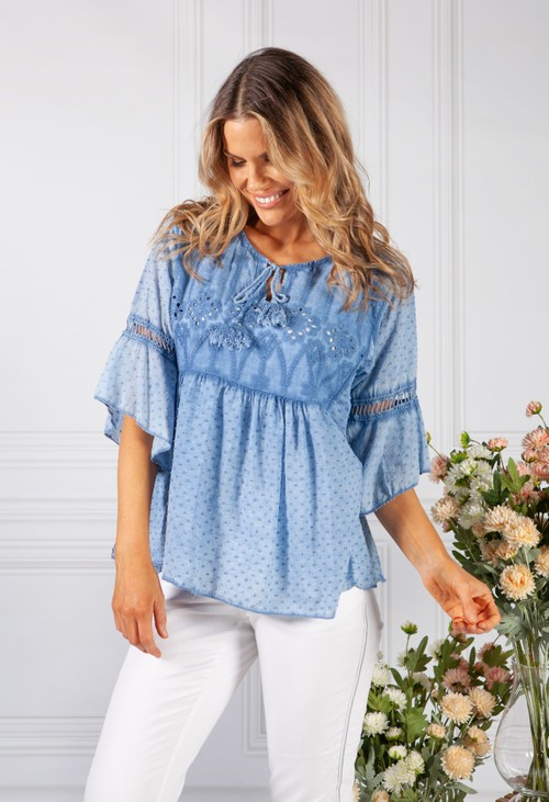 Pamela Scott Denim Blue Linen Look Blouse with Embroidered Detailing