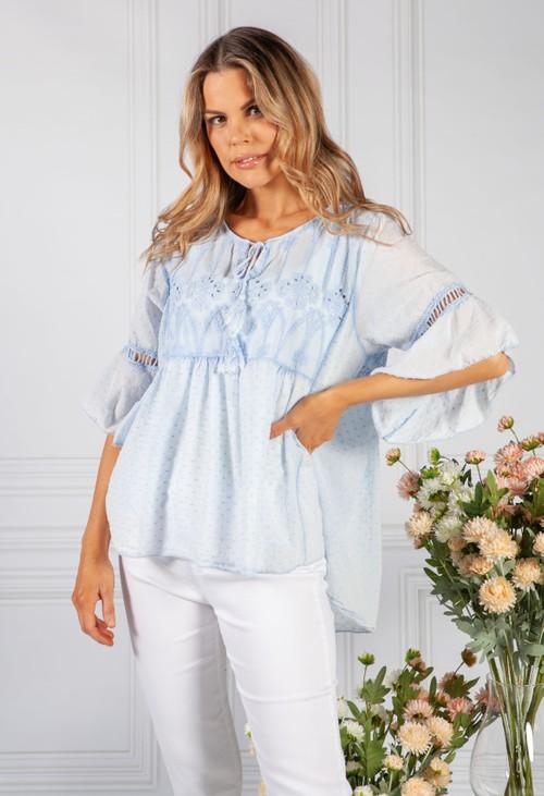 Pamela Scott Light Blue Linen Look Blouse with Embroidered Detailing