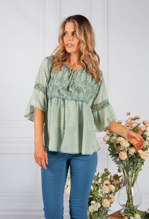Pamela Scott Khaki Linen Look Blouse with Embroidered Detailing