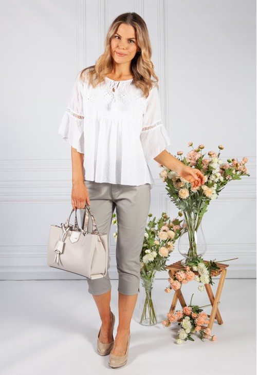 Pamela Scott White Linen Look Blouse with Embroidered Detailing