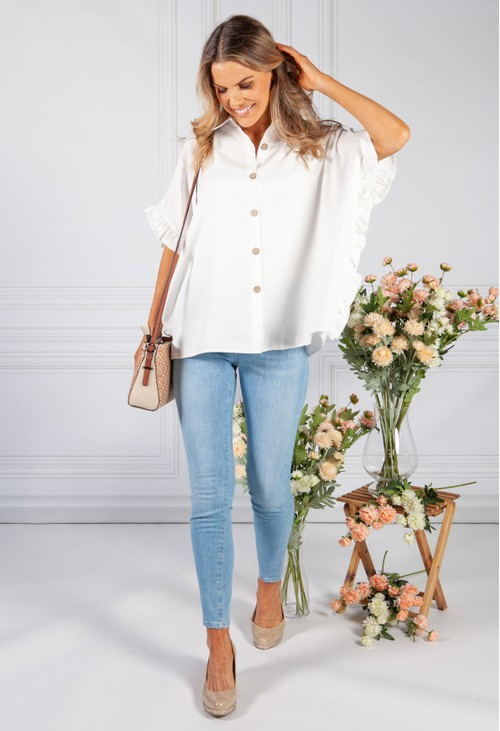 Pamela Scott Optic White Shirt Collar Blouse