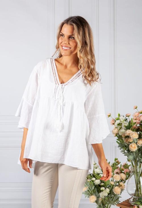 Pamela Scott White Lace Neckline Linen Look Blouse