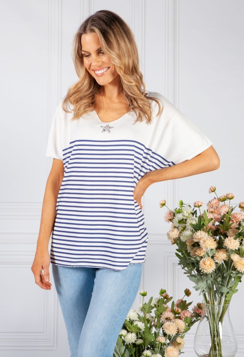 Pamela Scott navy stripe top with star embellished detail