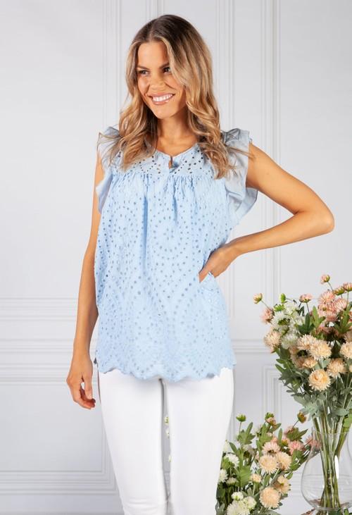 Pamela Scott Sky Blue Embroidered Blouse