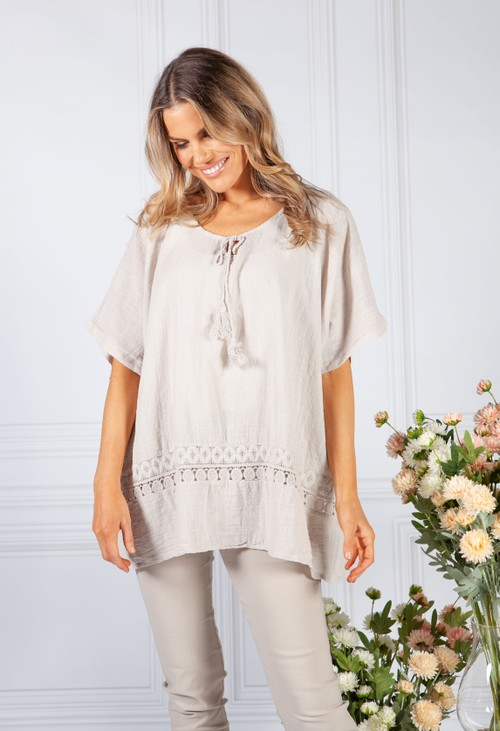 Pamela Scott Sand Tied Neck Linen Look Blouse
