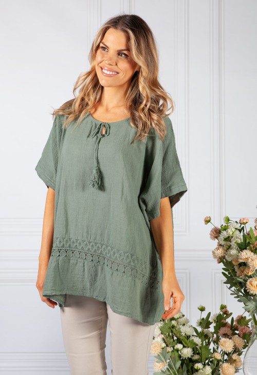 Pamela Scott Khaki Tied Neck Linen Look Blouse