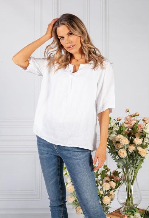 Pamela Scott White Linen Shirt