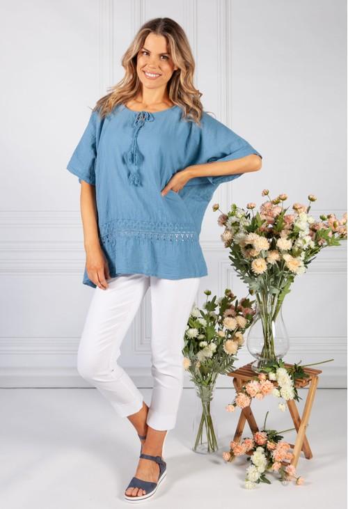 Pamela Scott Cornflower Blue Tied Neck Linen Look Blouse
