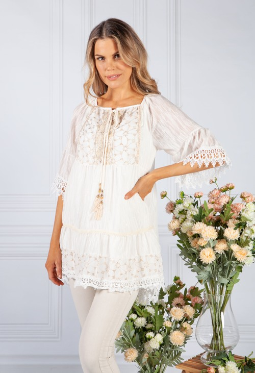 Pamela Scott Cream Blouse with Golden Embroidery Detailing