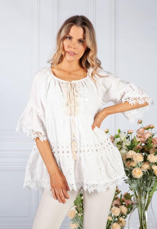 Pamela Scott Sequin Embroidered Blouse