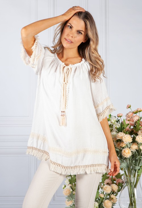 Pamela Scott Tassel Trim Blouse