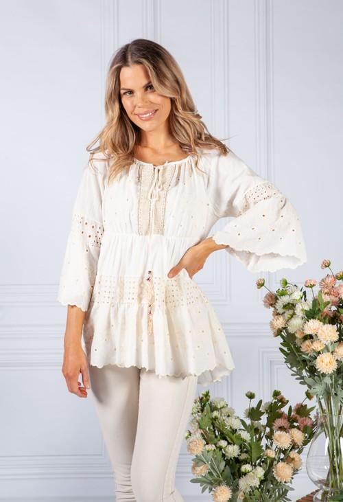 Pamela Scott Cream Floral Lace Blouse