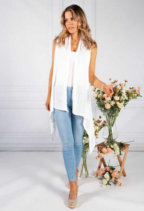 Pamela Scott White Sleeveless Knit Cardigan