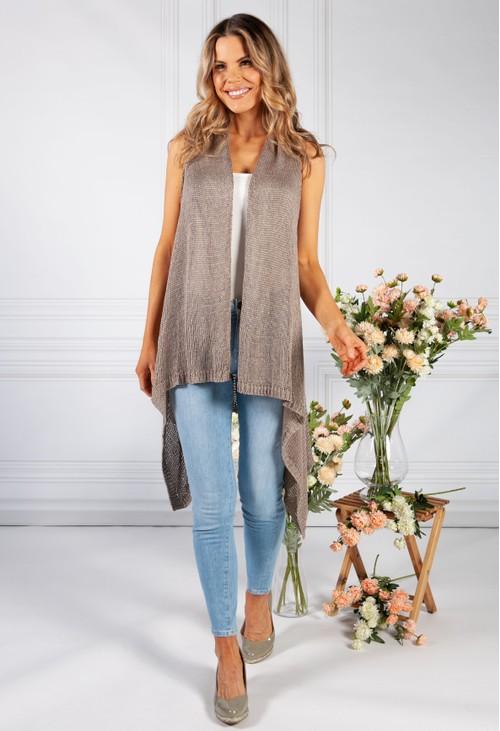 Pamela Scott Taupe Sleeveless Knit Cardigan