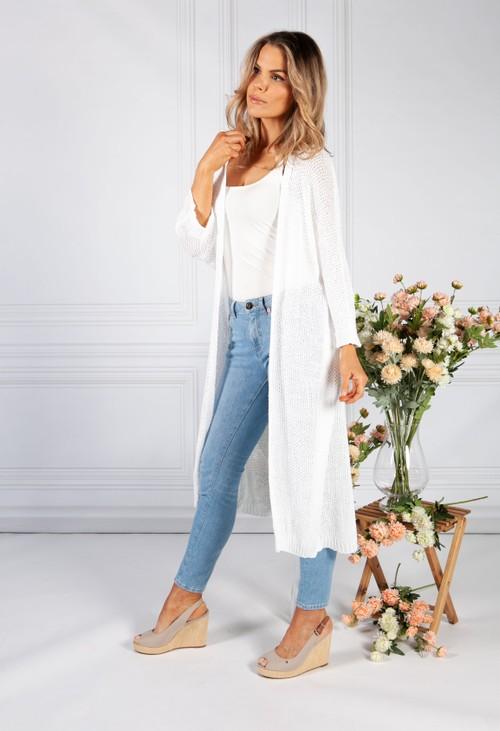 Pamela Scott Long White Loose Knit Cardigan