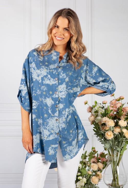 Pamela Scott Blue Night Sky Print Shirt