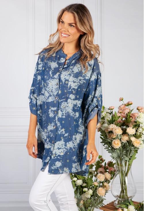 Pamela Scott Navy Night Sky Print Shirt