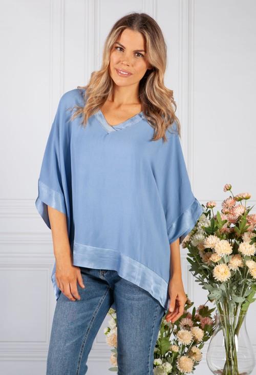 Pamela Scott Blue Silk Feel Trim Top