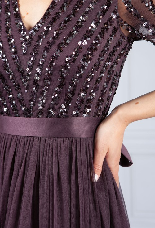 Maya Dark Purple V Neck Sequin and Tulle Dress with Tie Waist