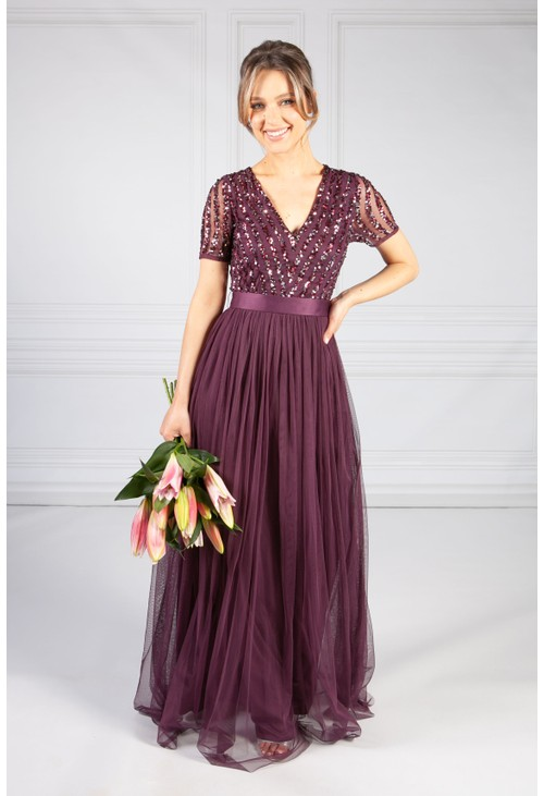 Maya Berry V NECK SEQUIN AND TULLE DRESS WITH TIE WAIST