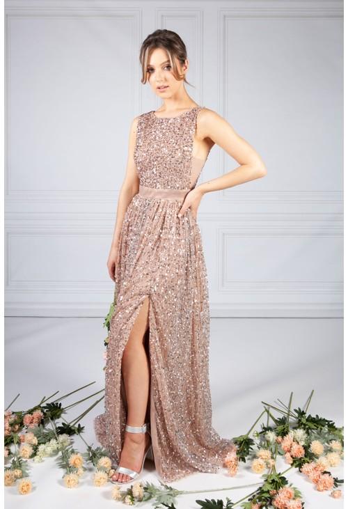 Maya Blush Full Length Sequin Dress with Leg Slit