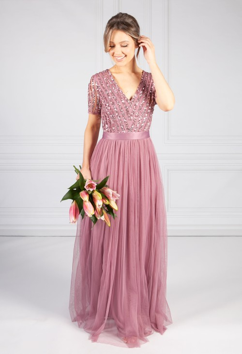 Maya Lotus Pink V NECK SEQUIN AND TULLE DRESS WITH TIE WAIST