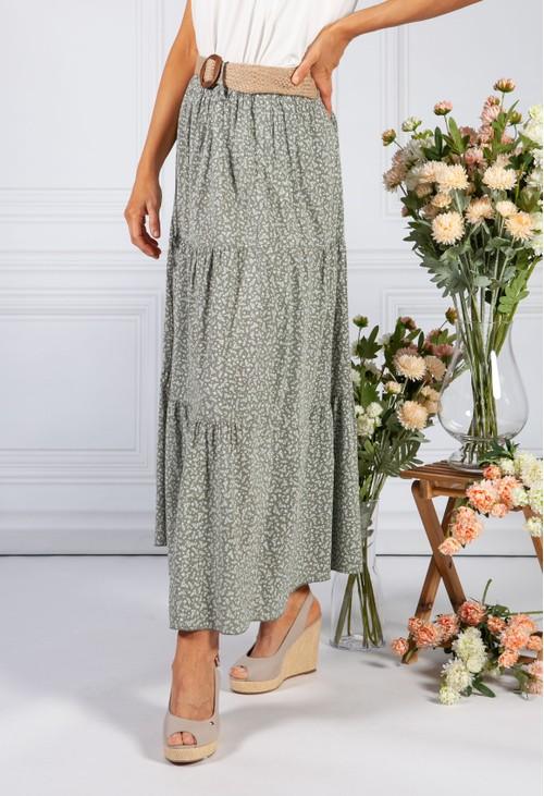 Pamela Scott sage floral print tiered skirt