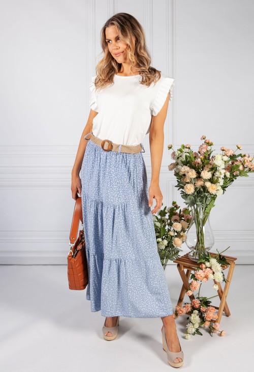 Pamela Scott pale blue floral print tiered skirt
