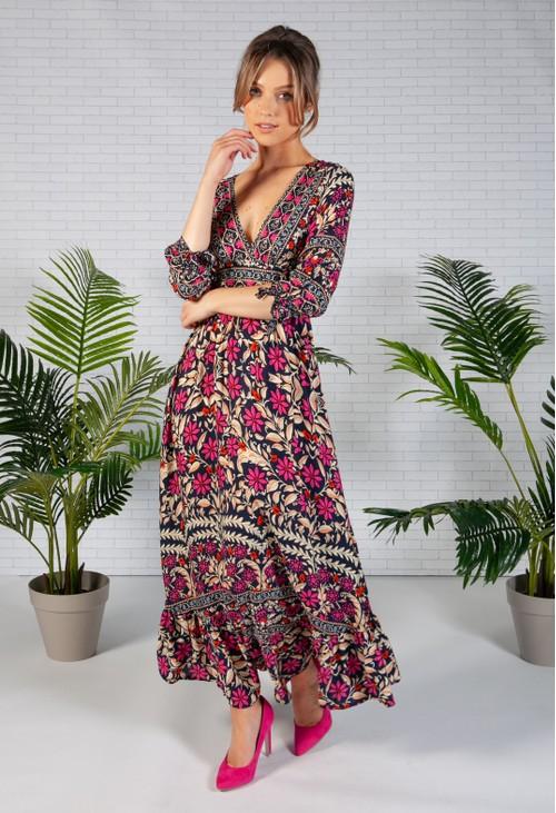 Pamela Scott Navy Antique Floral Print Dress