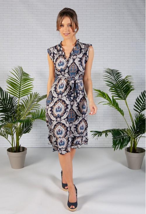 Pamela Scott Navy Paisley Print Dress