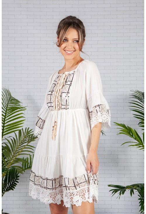 Pamela Scott Sequin Trim Boho Dress