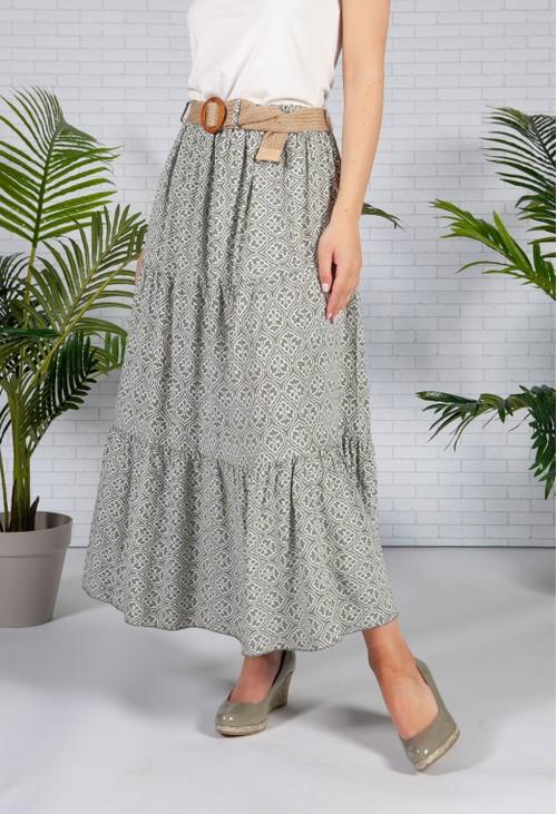 Pamela Scott Olive Vintage Print Skirt