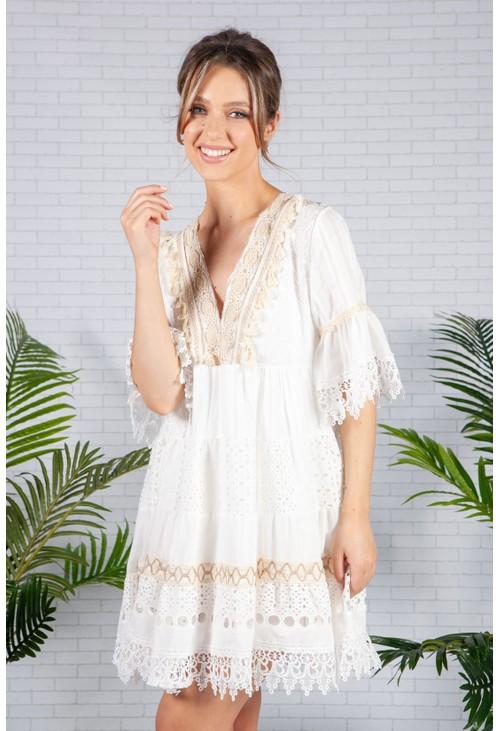 Pamela Scott White Boho Lace Dress