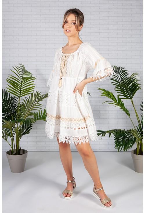 Pamela Scott Lace Panelled White Dress
