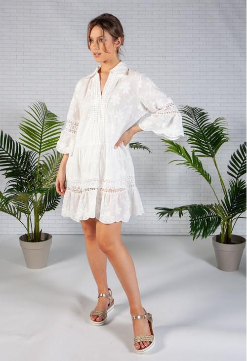 Pamela Scott White Floral Embroidered Dress