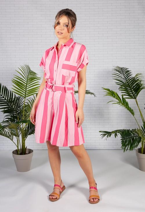 Pamela Scott Loose Fit Pink Striped Shirt