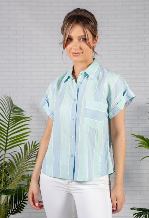 Pamela Scott Loose Fitting Light Blue Striped Shirt