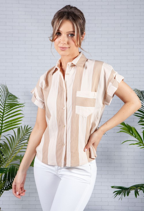 Pamela Scott Loose Fit Beige Striped Shirt