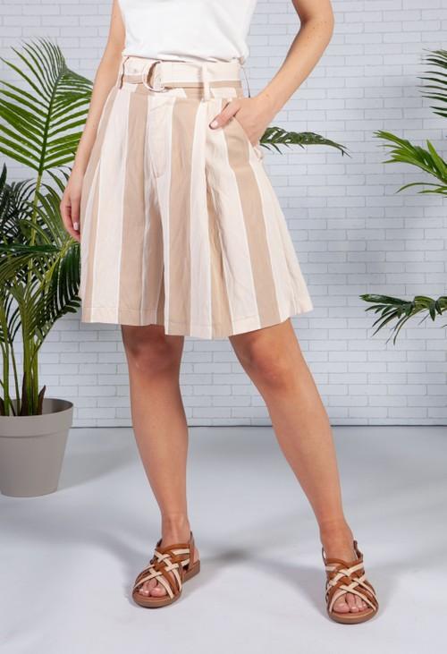 Pamela Scott Beige Striped Bermuda Shorts