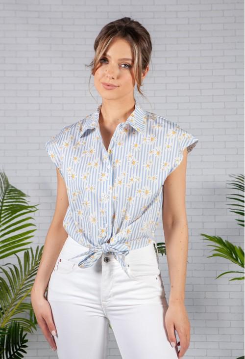 Pamela Scott Light Blue Striped Daisy Shirt