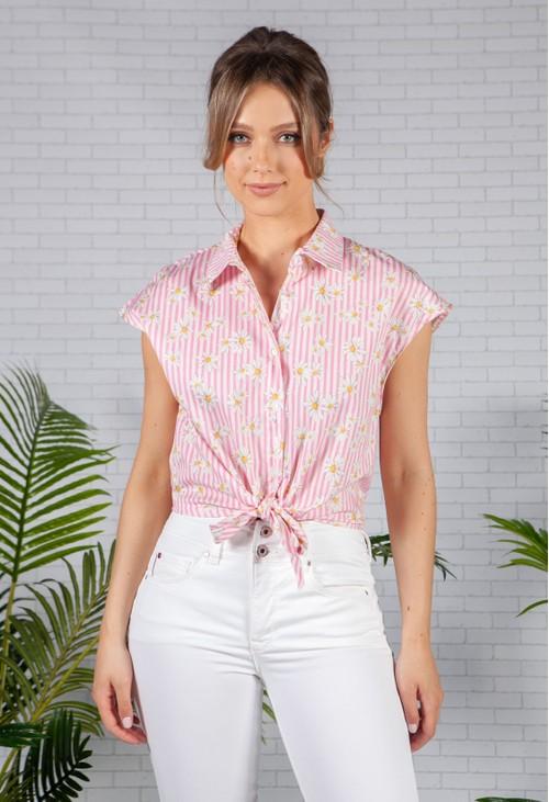 Pamela Scott Pink Striped Daisy Shirt