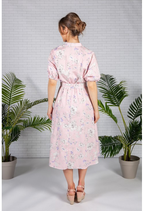 Pamela Scott Pink Stripe Floral Print Midi Dress