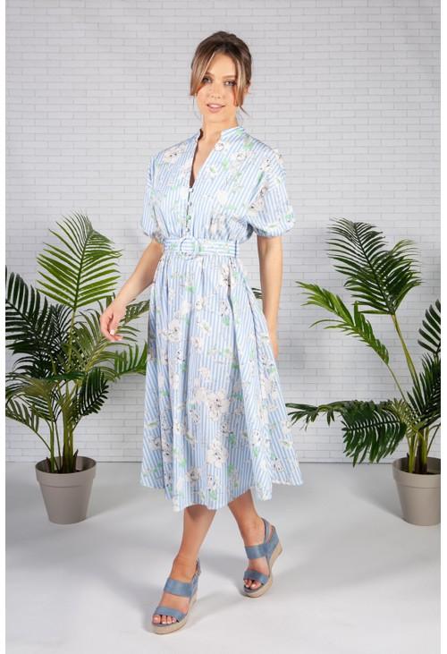 Pamela Scott Blue Stripe Floral Print Midi Dress