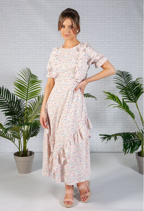 Pamela Scott Floral Print Frilled Midi Dress
