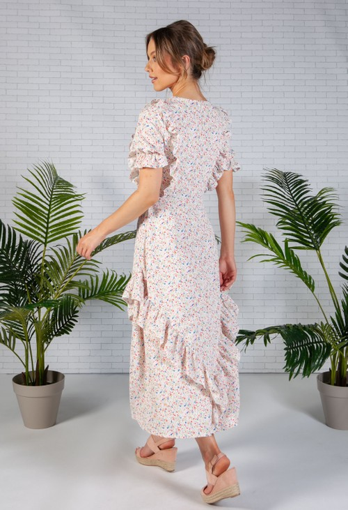 Pamela Scott Floral Print Frilled Midi Dress