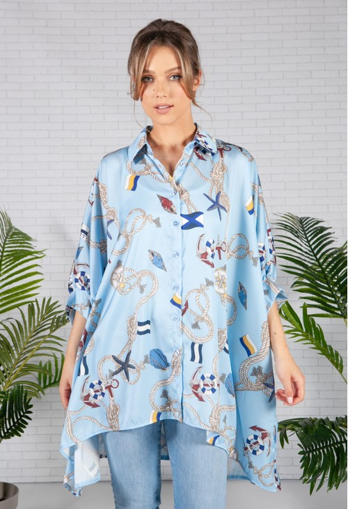 Pamela Scott Sky Blue Nautical Print Shirt