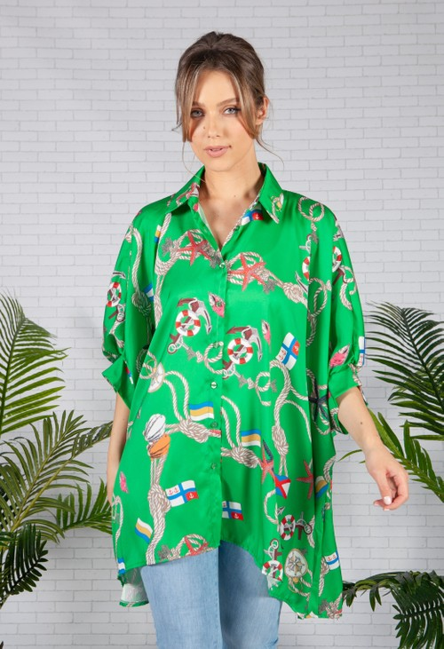 Pamela Scott Green Nautical Print Shirt