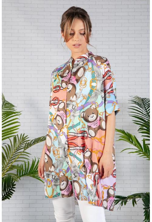Pamela Scott Mandarin Collar Shirt with Teddy Print